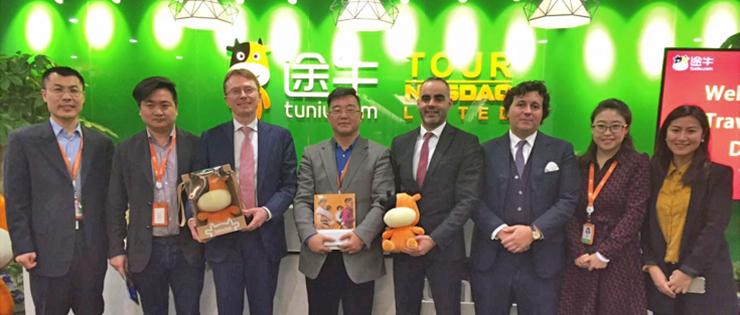 Tuniu Team: Public affairs deputy GM Xinshoudong, Outbound destination Deputy Director Changqing, Vice president Geyujing, Public affairs Director: Yuyingshuo