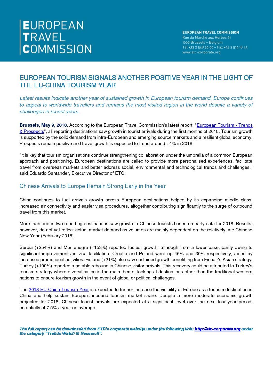 Press – 2018 EU – China Tourism Year
